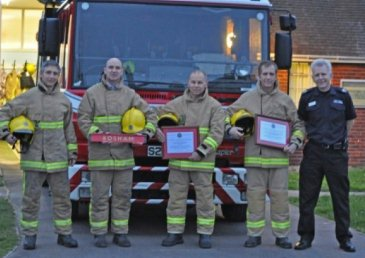 Last call for Bosham firefighters -  Firefighters, Luke Hillman, Alisdair Kelly, Colin Bird, Richard Kewell and Senior Officer Kevin Trust -  click to enlarge