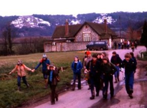pilgrims leaving Heyshott village hall