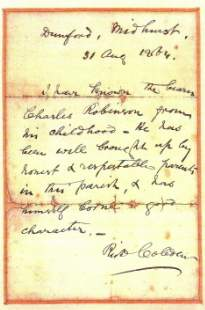 1864 Signed letter of reference from Richard Cobden to Charles Robinson  - click to enlarge