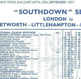 1957 Coach timetables, London to Bognor