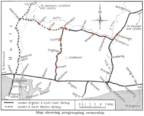 map of Railways in the Rother Valley area showing pre-grouping ownership