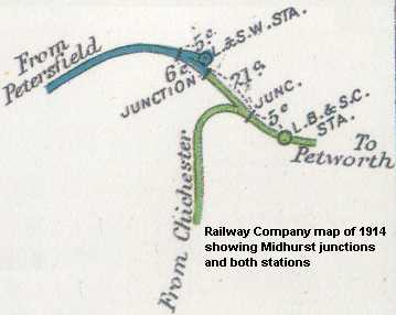 map of Midhurst showing railway junctions and stations 1914